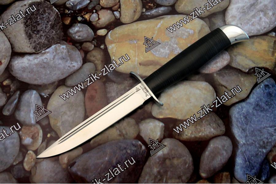 Финка Вачинская рукоять кожа наборная, алюминий